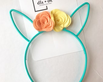 Headband, Bunny Headband, Flower Headband, Easter Headband, Bunny Ears, Floral Headband