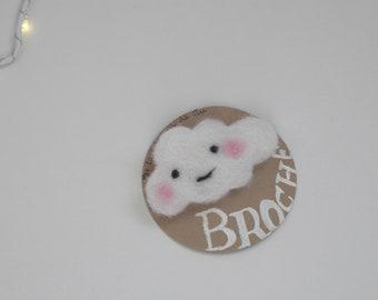 Woolen cloud brooch