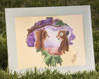 The Lion King Simba Nala happy lions Starry Sky Sunset, , A5 Watercolor Collage, Flowers Bouquet, Positive Cute Feline 3D Painting