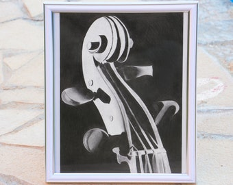 Violin fiddle instrument music musical classical pegbox scroll drawing sound graphite a4 black and white vertical contrast elegant string