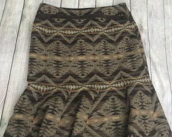 Vintage Pendleton Sz 8 Wrap Skirt Graphic Print Black Red Blue White Geometric Skirts