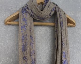 Handcrafted Merino Wool Scarf/Wrap - Foil Printed electric blue on beige
