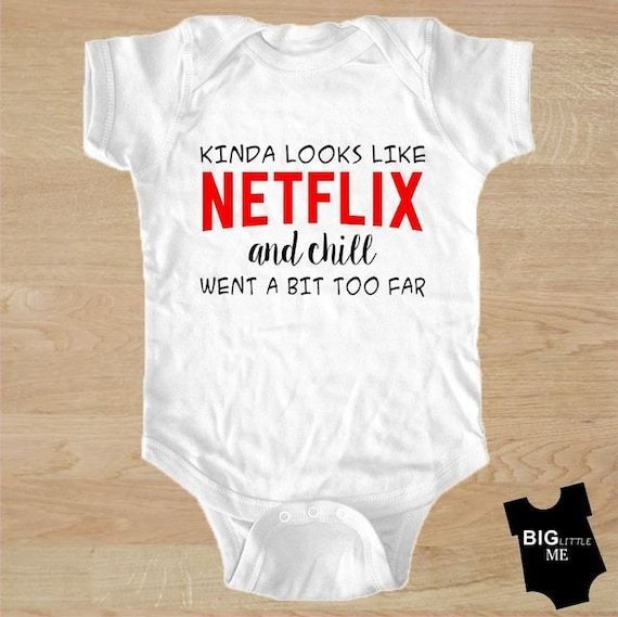 Netflix and Chill Onesie Grey shoes Baby Shower Best Baby Gift Idea