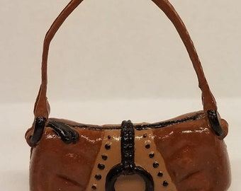 Brown Beige Black Barbie Handbag Purse