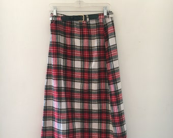 Plaid belted maxi skirt