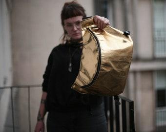 Fake Leather bag, Big Hip Bag, Shiny fanny pack, waist bag, kidney bag, bum bag, vegan leather  bag, gold bag