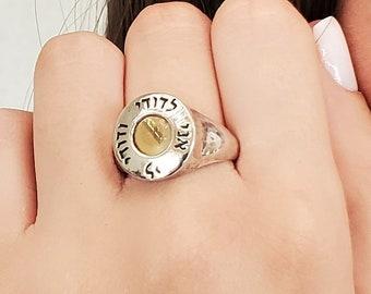 Monogram Judaica Ring Signet Ring Men