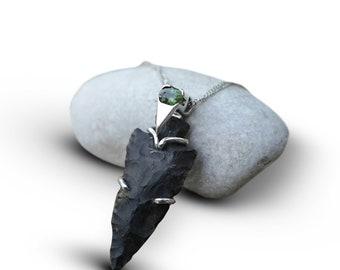 Eliezer Sheild - Sterling Silver & Tourmaline Stone Arrowhead Necklace