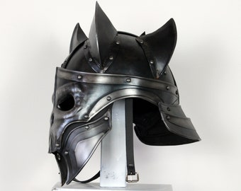 Helmet Lichking Armor Metal Undead demon plate helmet fantasy Larp Middle Ages cosplay Deathknight Theater Movie