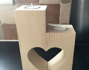 Handmade pine candle holders with heart cutout
