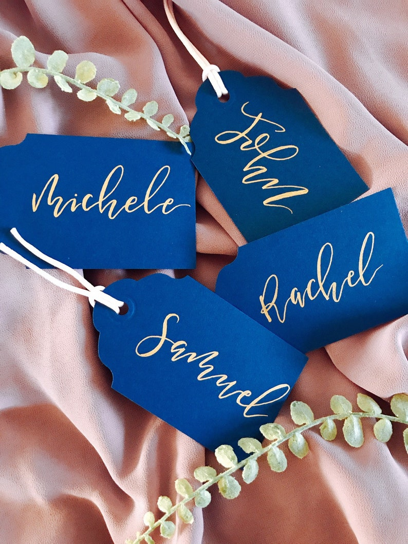 Gold Place Card Tags Navy