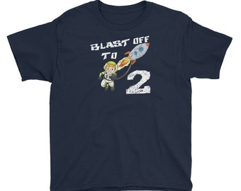 b031aaaff Blast Off To Two Space Rocket Ship Astronaut Birthday Party T-Shirt