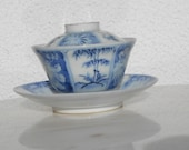 A fine KangXi 17 18th century China blue and white cup with lid and plate China 17 18th century, antique chinese porcelain china porcelain