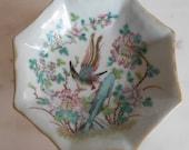 China 19th c porcelain dish on foot. 仿古瓷器 . Antique handpainted paradise bird. Chinese handmade porcelain.中国瓷器 .中国古董. Antique china