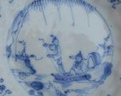 Qing KangXi Qianlong China blue and white saucer figural scene China 17 18th century, antique chinese porcelain china porcelain