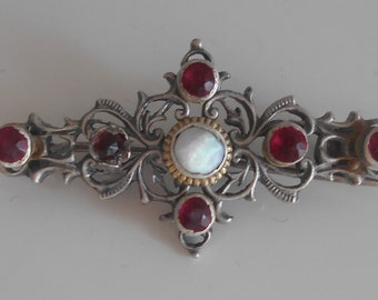 Historical Renaissance style silver Brooche with red decorations antique / semi antique jewelry
