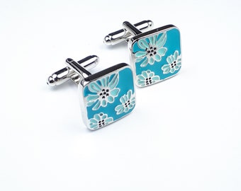 Floral Enamel Cuff Links
