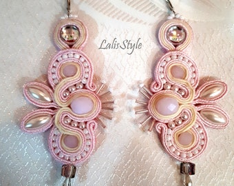 Pink soutache earrings.Handmade jewelry