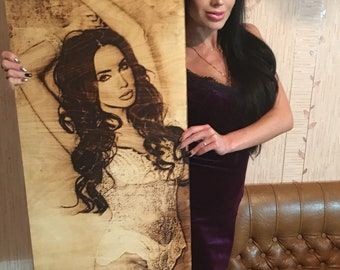 Wooden Engraved Photo with frame. Your portrait from any image.
