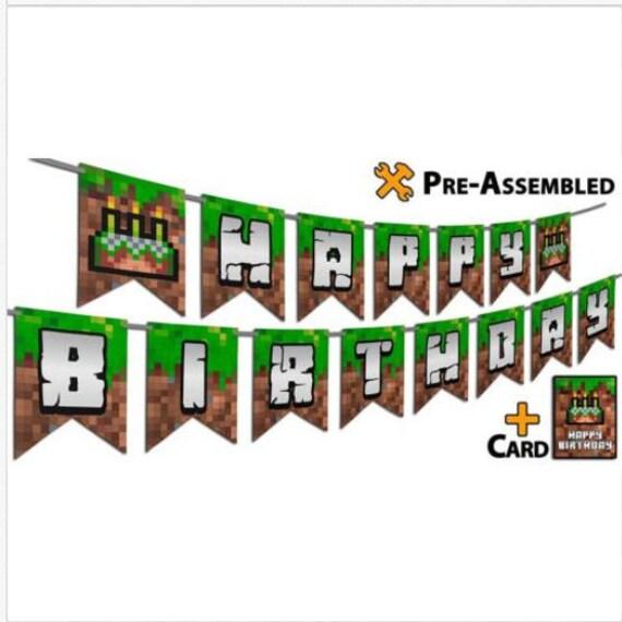 Style Pixel Mine Craft Jeu Vidéo Happy Birthday Suspendu