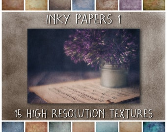 Grunge Texture Overlays for Photoshop, Inky Paper Digital Textures for Photographers