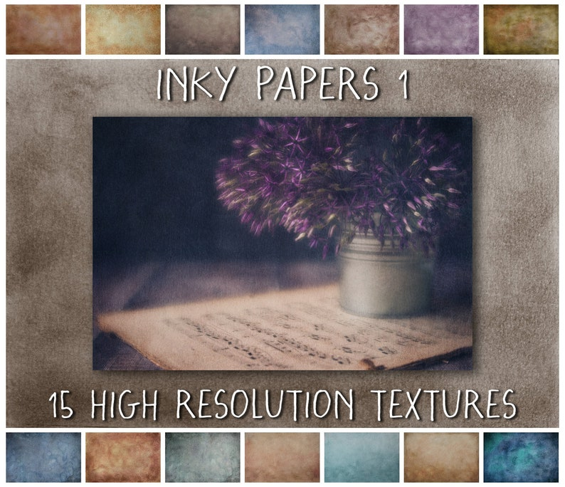 Grunge Texture Overlays for Photoshop Inky Paper Digital image 0