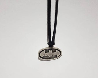 Batman faux leather necklace, gift idea for him/her, DC Comics novelty necklace