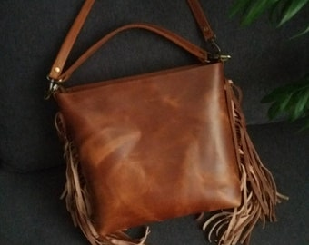 d7b447b77a48 Whiskey Leather Crossbody bag with fringe Brown leather shoulder bag  Handmade Leather Purse Red Leather Handbag Gift for women