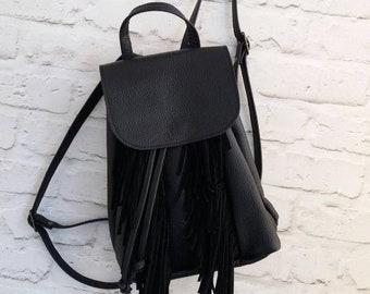 03ada74d82 Leather Backpack Women Black Fringe Backpack Leather For Women Black  Backpack Study Backpack Laptop Backpack Bag Leather knapsack Purse
