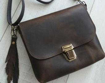 Leather Crossbody Bag Handmade Brown Leather Crossbody Bag Medium Leather Handbag Women Leather Bag Leather Shoulder Bag Leather Purse
