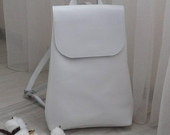 Leather Backpack Women Backpack White Leather Handmade Women Backpack Study  Backpack Laptop Backpack Bag leather knapsack gift 8aab6d994d8e2