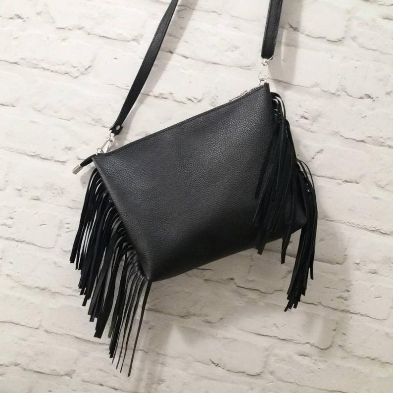 153db80ecc Leather shoulder bag with fringe Black Leather Crossbody Bag