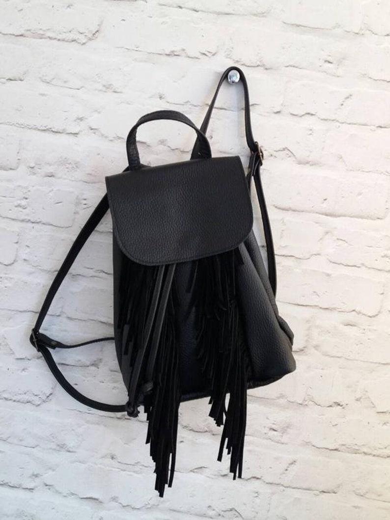 f24d195c69067 Leder Rucksack Frauen schwarz Fransen Rucksack für Frauen