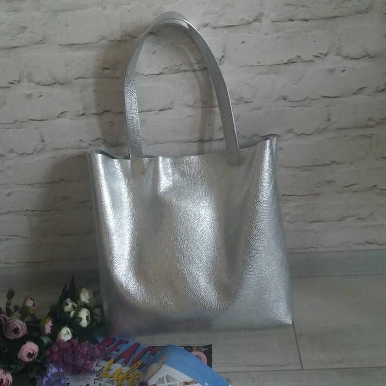 4a413a76699ba Leder Handtasche Frauen Silber Leder Tasche Tasche Handtasche