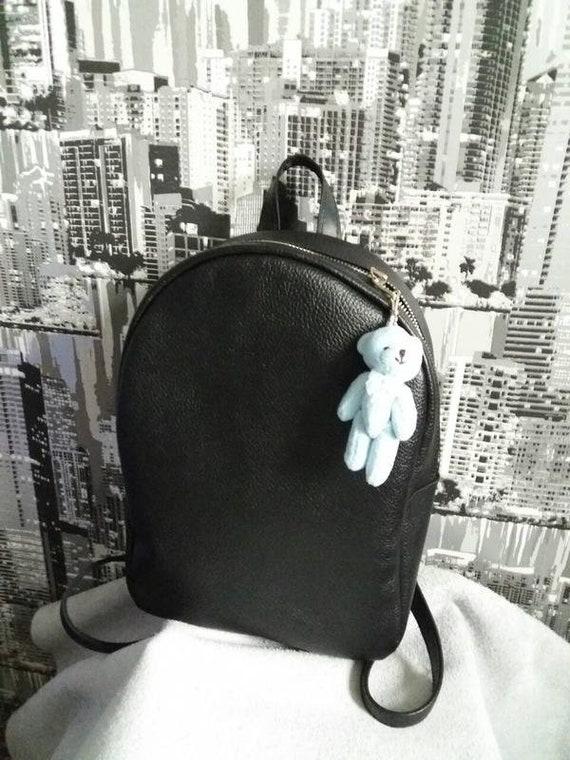 Leather Backpack Women handmade light Black leather backpack  1d60722edd3fe