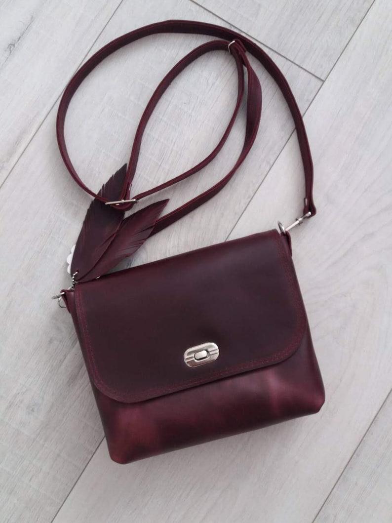 2ce4492af8bb Leather Crossbody Bag Handmade Burgundy Leather Crossbody Bag | Etsy