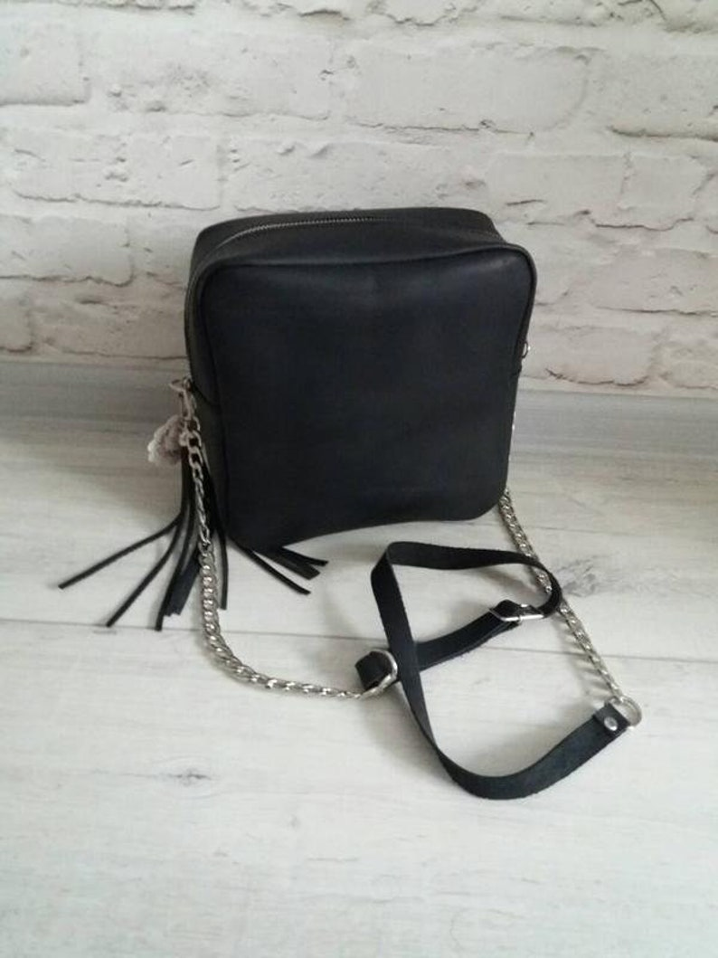 6ef1022e1e Leather Crossbody Bag Handmade Medium Black Leather Handbag