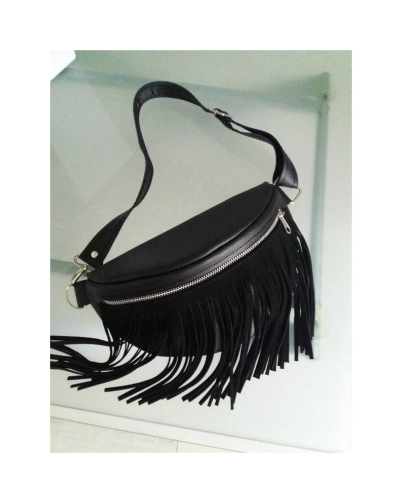 0a146f6a8a0e2 Leather Fanny Pack Fringe Black Leather Hip Bag Women Leather | Etsy