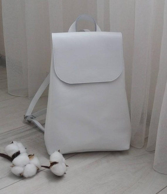Leather Backpack Women Backpack White Leather Handmade Women  16c4b45c11002