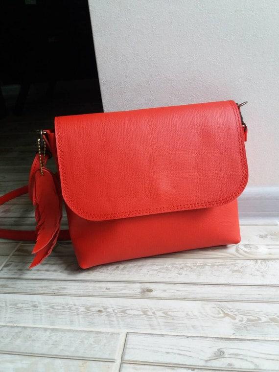 62bb9cad19fe Red Leather Crossbody Bag Handmade Leather Crossbody Bag Small