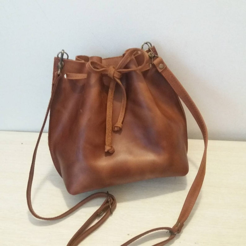 cfd70f228dce Leather Bucket Bag Leather Bucket Drawstring Bag Brown Leather
