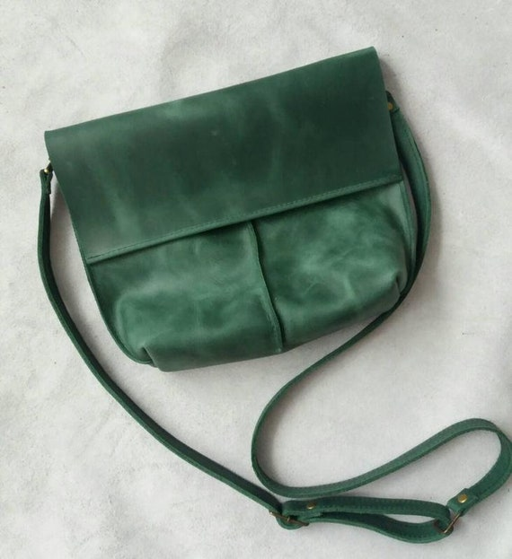 Leather shoulder bag Green Leather Crossbody