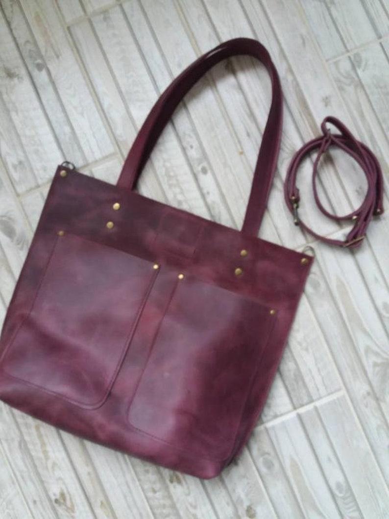 6509a3520e816 Rotes Leder Tasche Handtasche Handtasche Bordeaux Tasche Tote