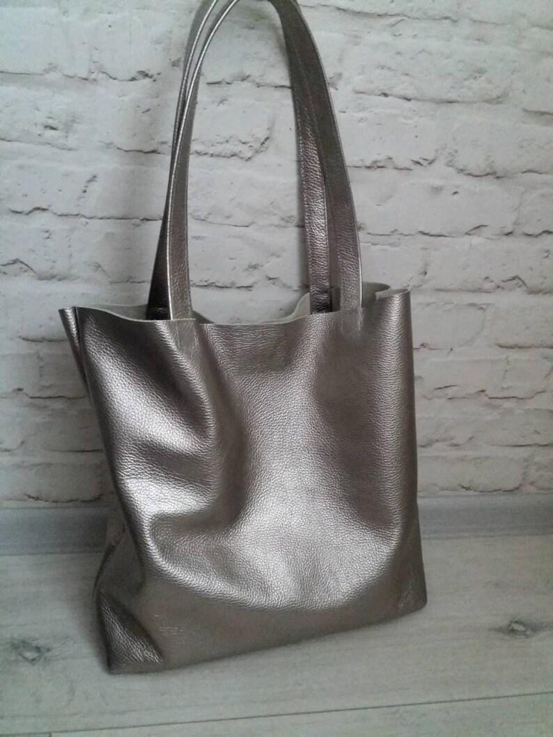 Leather Handbag Women Dark Silver leather Bag Tote Bag Purse  ac7135a39c