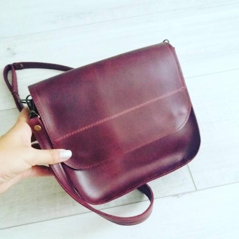 d44d98ee63d1 Leather Crossbody Bag Handmade Burgundy Leather Crossbody Bag