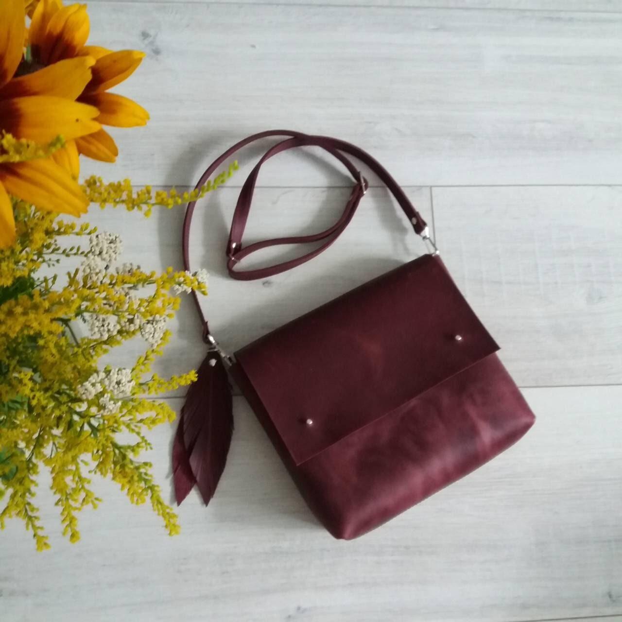 58f16f3fa6 Leather Crossbody Bag Handmade Burgundy Leather Crossbody Bag