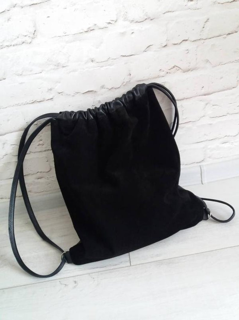Leather Backpack Women Backpack Black Leather Drawstring  f34e4d7a26054