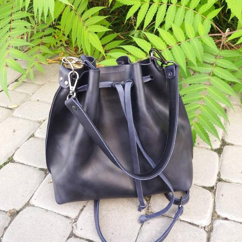 7170d3a8be42 Big Leather Bucket Bag Medium Leather Bucket Drawstring Bag Blue Leather  Crossbody Bag Women Handmade Leather Bucket Bag Handbag Women Purse
