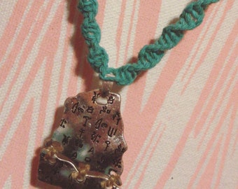 Turquoise Hemp Necklace With Pendant