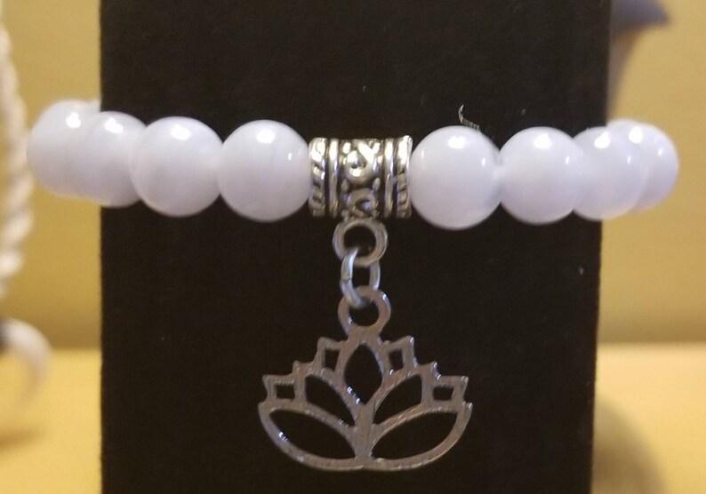 Grade AAA Genuine Blue Lace Agate Lotus Bracelet